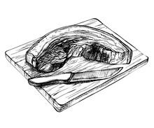Sketch Fresh Raw Pork , Beef P...