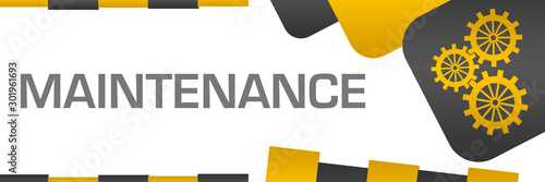 Fotomural Maintenance Yellow Grey Rounded Squares Symbol Horizontal