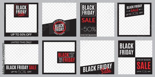 Black Friday sale banner set Tableau sur Toile