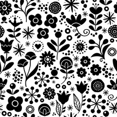 Folk floral seamless vector pattern - hand drawn vintage Scandinavian style textile design with black and white flowers