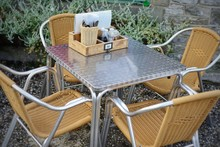 Metal And Wicker Outdoor Cafe ...