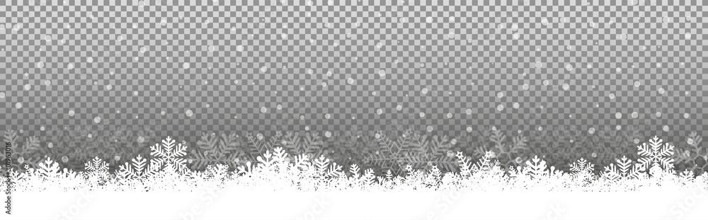 Transparent Chritmas background snowflakes snow winter Illustration Vector eps10