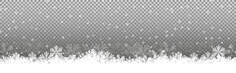 FototapetaTransparent Chritmas background snowflakes snow winter Illustration Vector eps10