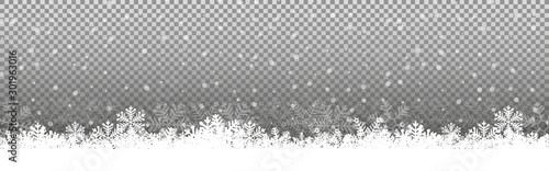 Transparent Chritmas background snowflakes snow winter Illustration Vector eps10 - 301963016