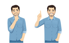 Handsome Man In Casual Clothes Thinking Looking Away And Making Idea Pointing Up Isolated On White Background Vector Illustration