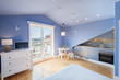 Leinwanddruck Bild - Modern apartment interior design in blue colours, balcony, kitchen, small and cozy room