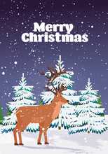 Cartoon Reindeer Standing In Winter Forest Cute Deer Animal Greeting Card Merry Christmas Happy New Year Holidays Congratulation Lettering Vertical Vector Illustration