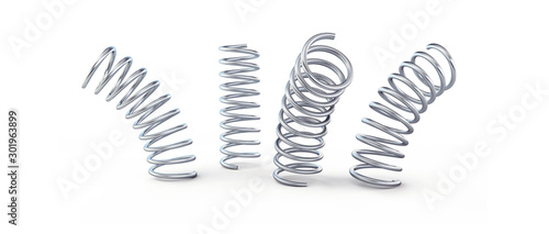 metal jumping spring isolated on a white background 3D illustration, 3D renderin Canvas Print