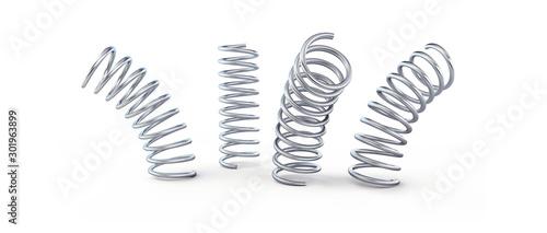 Fototapeta metal jumping spring isolated on a white background 3D illustration, 3D rendering obraz