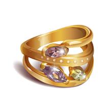 Vector Illustration. Gold Ring With Precious Stones Topaz, Chrysolite, Amethyst, Beryl, Morganite And Diamonds.