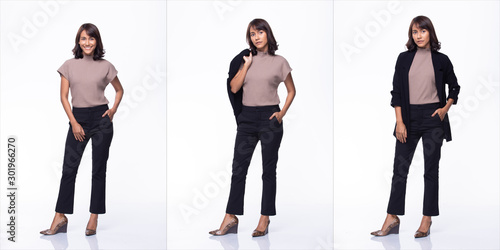 Obraz Collage Group Pack of Fashion Young Mother Indian / Asian Woman black hair beautiful make up purple dress black pants stand pose snap 360 body full length. Studio Lighting white Background isolated - fototapety do salonu