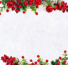 Christmas Decoration. Frame Of Red Berries, Small Red Apples And Twigs Christmas Tree On Snow With Space For Text. Top View, Flat Lay