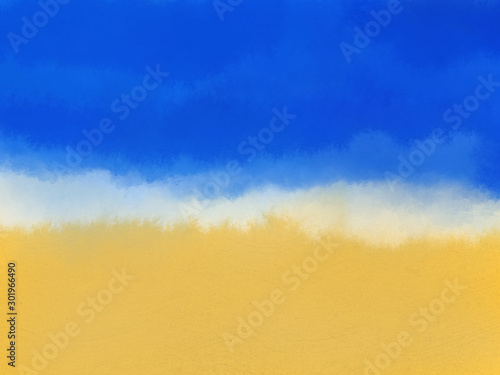 Photo sur Toile Bleu fonce sand and water