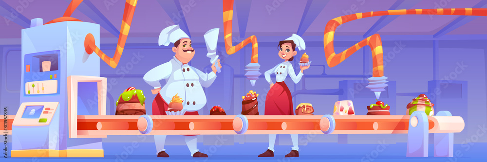 Fototapety, obrazy: Confectioners on candy factory decorate chocolate production on conveyor belt with sweet desserts, bakery and cakes moving on line with automation and manufacturing system. Cartoon vector illustration