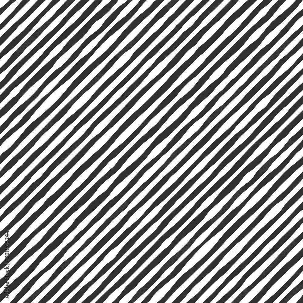 Fototapeta Fabric seamless pattern with textile line texture, black on white background. Simple wallpaper doodle stripes, grunge backdrop, monochrome design element