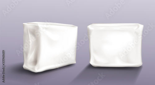 Cuadros en Lienzo Napkin pack mock up set isolated on transparent background