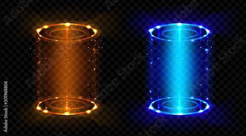 Photo Magic portals, fantasy futuristic teleports with hologram effect set