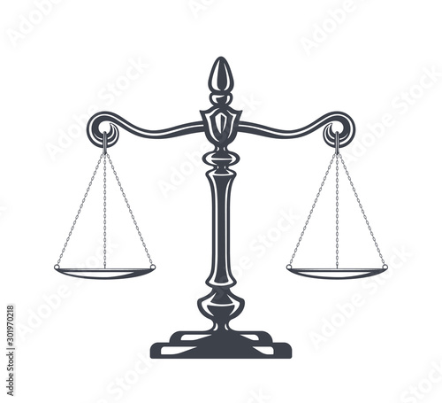 Scales of justice vector illustration. Weight Scales, Balance. Concept law and justice. Legal center or law advocate symbol. Libra in flat design. Juridical emblem.
