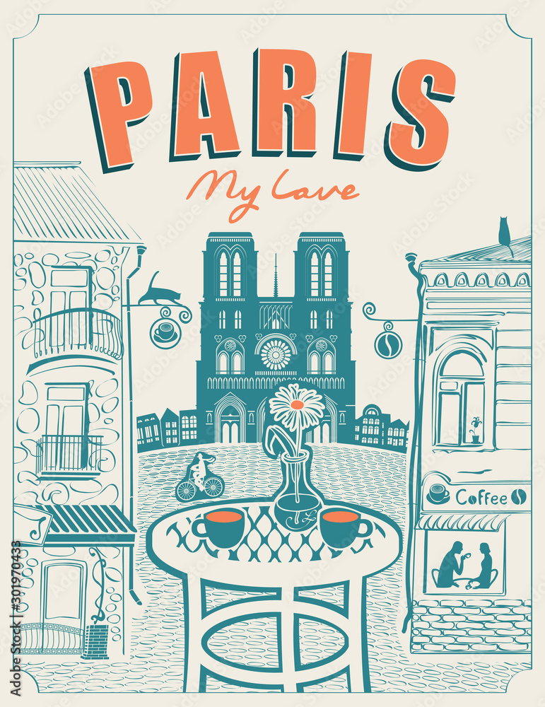 Fototapeta Vector banner or menu for Parisian street cafe with views of the Notre Dame and old buildings, with table for two in retro style on a light background. Inscription Paris my love