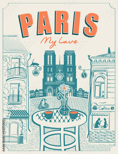 Photo Vector banner or menu for Parisian street cafe with views of the Notre Dame and old buildings, with table for two in retro style on a light background