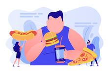 Overweight Man Eating Burger, ...