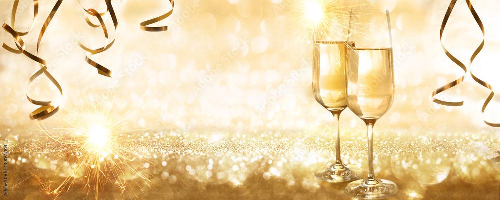 Fototapety, obrazy: Golden new years eve background