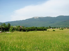Panorama Of Lush Green Vegetation On The Outskirts Of The Village At The Foot Of A Mountain Ridge Against The Backdrop Of A Morning Barely Cloudy Blue Sky.