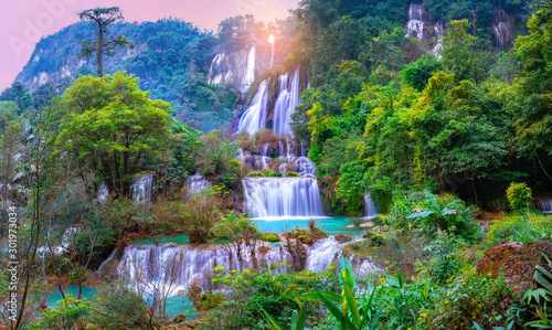 Garden Poster Forest river Panorama Tee lor su waterfall in Thailand at the tropical forest , Umphang District, Tak Province, Thailand.