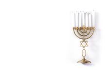 Jewish Hanukkah Menorah Isolated On White Background. Copy Space