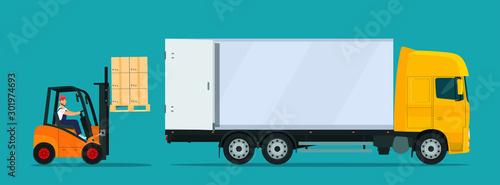 Obraz Forklift truck loading. Vector flat style illustration. - fototapety do salonu