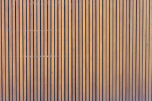 Pattern Of Modern Wall With Vertical Wooden Panel, Slats. Background Of Wooden Boards. Wooden Fence Texture. Wood Plank With Pattern For Design