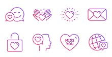 Hold Heart, Miss You And Dating Line Icons Set. Romantic Talk, Valentine And Wedding Locker Signs. Heart, World Brand Symbols. Friendship, Love Messenger. Love Set. Gradient Hold Heart Icon. Vector