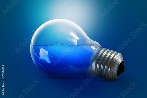 Ocean depth in the light bulb. Water inside the light bulb. Blue background