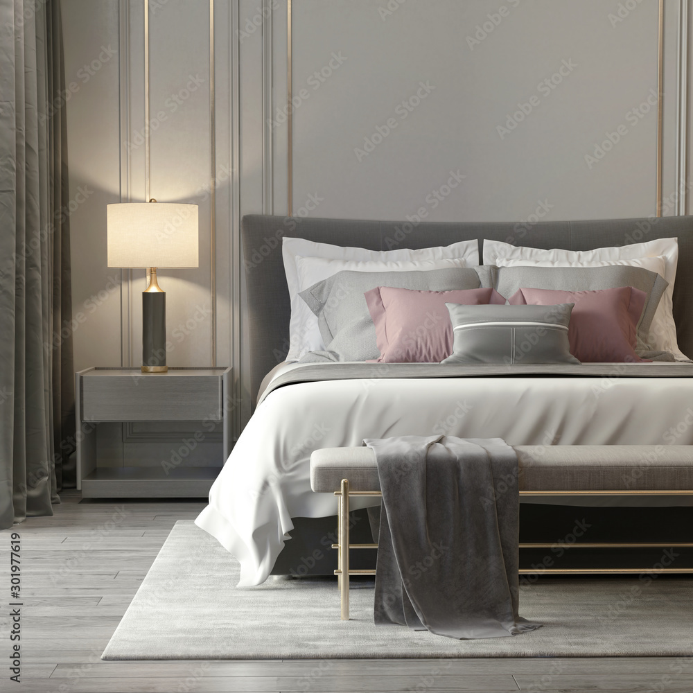 Fototapeta Grey bedroom interior with luxury lamps and a stool