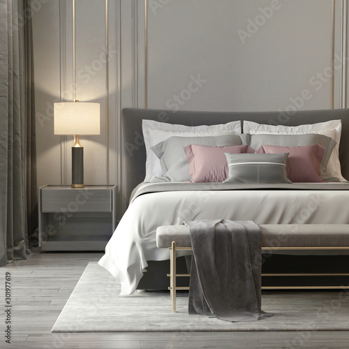 Grey bedroom interior with luxury lamps and a stool Fototapeta