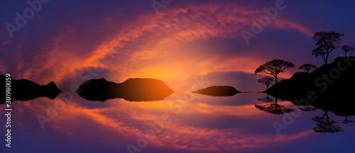 Montage in der Fensternische Aubergine lila Panorama Reflection of vivid sunset sky over sea.Colorful sunrise with Clouds over ocean.Tree silhouetted against a setting sun reflection on water.