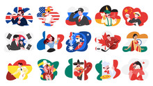 Set Of Vector Illustration Of People From Different Countries