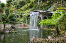 Waterfall,Water Feature In Monti Palace Gardens, Funchal, Madeira, Portugal, Europe