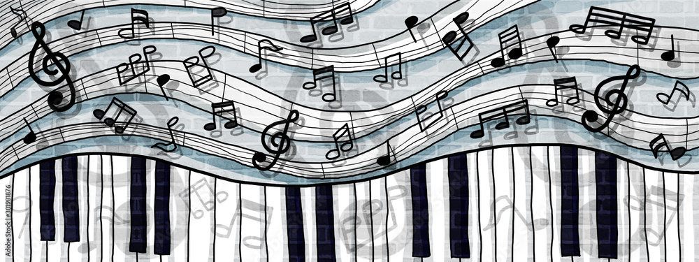 Fototapeta musical notes and keyboard design background wall paint