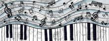 Musical Notes And Keyboard Des...
