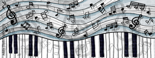 musical notes and keyboard design background wall paint - 301981876