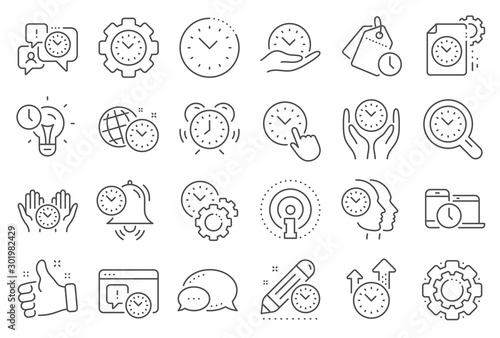Fototapety, obrazy: Time management line icons. Alarm clock, timer plan and project deadline signs. Countdown clock, time log and appointment reminder icons. People work, watch and office timer. Line signs set. Vector