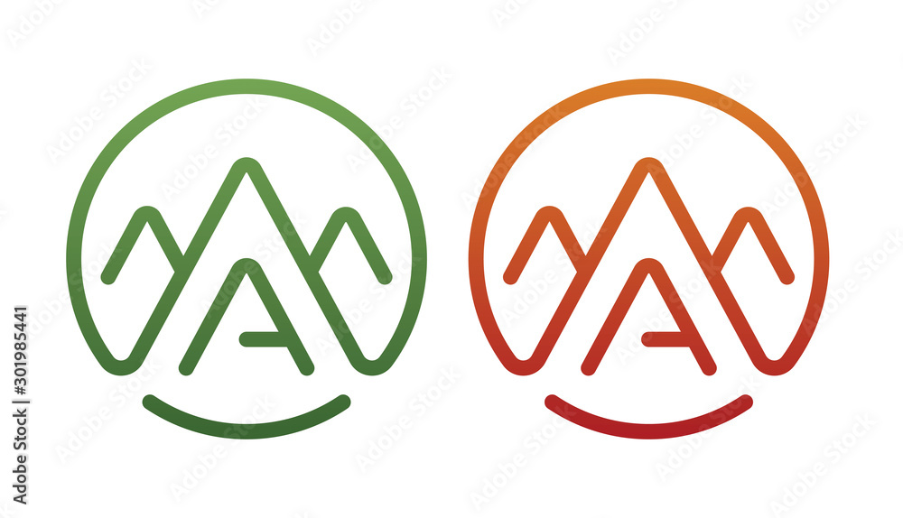 Fototapety, obrazy: a letter vector logo. a letter vector logo and mountain symbol. a letter logo and outdoor