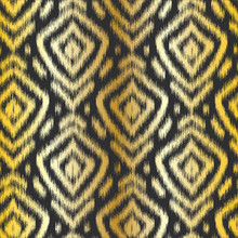 Gold Diamond Ikat Seamless Repeat Vector Pattern Swatch On Black Background. Golden Gradient. Tribal Blurry Fuzzy Design.
