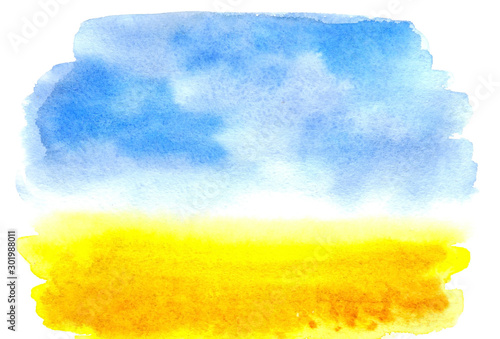 Foto op Plexiglas Geel Watercolor picture wheat field with the sky. Watercolor rural landscape. Beautiful Blue sky with yellow fields