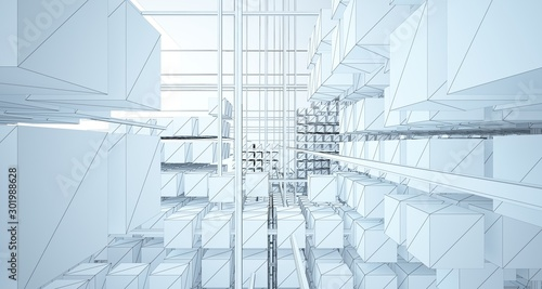 Obraz Drawing abstract architectural white interior from an array of cubes with large windows. 3D illustration and rendering. - fototapety do salonu