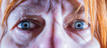 Close-up Of The Face Of An Elderly Woman. She Looks Anxious.