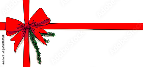 Photo Christmas gift with decorative red ribbon and green branch - for horizontal chri