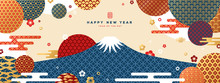 Mount Fuji At Sunset. Japanese Greeting Card Or Banner With Geometric Ornate Shapes. Happy New Year 2020. Clouds And Asian Patterns In Modern Style.
