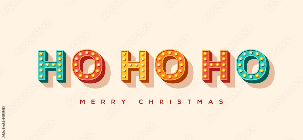 Fototapeta Ho ho ho and Merry Christmas card or banner with colorful typography design. Vector illustration with retro light bulbs font.
